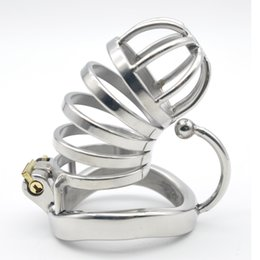 Wholesale Large Ring Male Chastity Devices - Stainless Steel Male Large Chastity Cage with Base Arc Ring Devices CD123