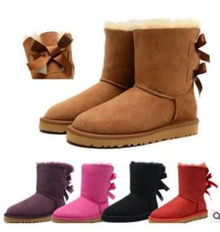 Wholesale High Heeled Black - 2017 HOT SALE New Fashion Australia classic low winter boots real leather Bailey Bowknot women's bailey bow snow boots