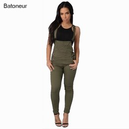 Wholesale Womens Overall Long Pants - Wholesale- Batoneur Sexy Denim Pants Plus Size Long Romper Casual Overalls Jumpsuit Bodysuit One Piece Summer With Pocket For Womens