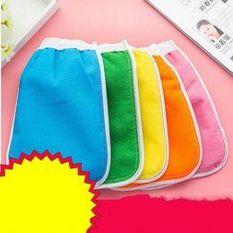 Wholesale Wholesale Bathing Towel - Removal Mitt Bathe Towel Bath Brush Exfoliator Glove Two Sided Scrub Mitts Magic Peeling Rub The Back Towels 0 55xd C R