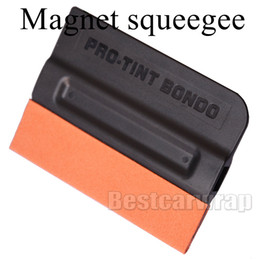 Wholesale Glue Tip - Pro Tint Bondo Squeegee Suede Edge MAGNETIC Decal Sticker Vinyl Car Wrap Applicator Tool With Magnets 100pcs   Lot