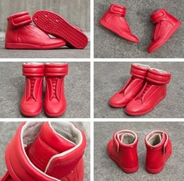 Wholesale Ups Maison - 2017 Maison Martin Margiela MMM Future Kanye West Sneakers High Top Luxuries Genuine Leather Men's Fashion Casual Shoe - All Red