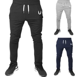 Wholesale Free Gym Workouts - Jogger Pants Sports Gym Pants Casual Elastic cotton Mens Fitness Workout skinny Sweatpants Trousers Jogger Pants Outdoor