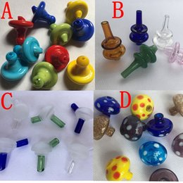 Wholesale Glass Oil Dome Wholesale - Universal Colored Glass UFO Carb Cap Hat style dome for Quartz banger Nails Newest glass water pipes, dab oil rigs