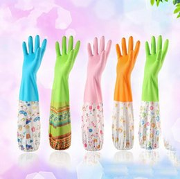 Wholesale Warm Latex Gloves - Durable Waterproof Household Glove Warm Dishwashing Glove Water Dust Stop Cleaning Rubber Glove 5 colors M&L size Plus velvet inside