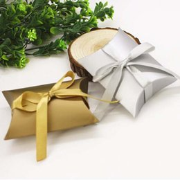 Wholesale Silver Pillow Box - 100pcs lot New Style Silver and gold color Pillow Shape Box Candy Box Gift Box for Wedding Party Favor Decor Wholesales