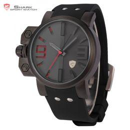 Wholesale Mens Watches Shark - atches Quartz Wristwatches Brand Salmon SHARK Sport Watch Mens Stainless Steel Case Black Red Japan Movement Rubber Band Luxury Quartz Me...