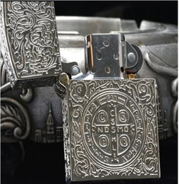 Wholesale Hand Carved Lighter - Wholesale- Wholesale brand silver plating Hand-carved 58*39*18MM six side Constantine lighter armor Edition ZPO