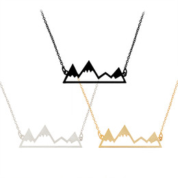 Wholesale Turquoise Silver Choker - Fashion Best Friend Hollow Snow Mountain Shape Turquoise Pendant Necklace Gold Silver Black Mixed Wholesale On Behalf Of The Delivery