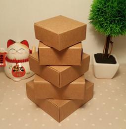 Canada Taille: 6 * 6.6 * 2.5cm Boîte à bijoux pliante en papier kraft, boîte-cadeau en papier vierge marron, boîte à savon 100pcs / lot à la main en papier Offre