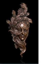 Wholesale Copper Antique Craft - Brass Crafted Human Vintage Handmade Classical Bronze Art Relief Wall Statue Peacock Mask Copper metal wall Sculpture Coverings