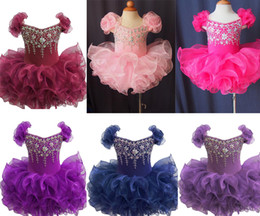 Wholesale New Cupcake Pageant Dresses - Wholesale New 2017 Baby Girls Glitz Pageant Cupcake Gowns Infant Beaded Mini Short Skirts Toddler Girls Knee Length Pageant Dresses