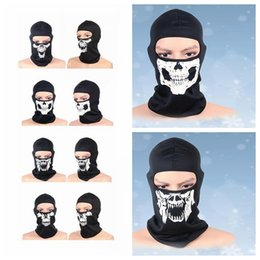 Wholesale Motorcycle Full Mask Winter - Balaclava Beanies Motorcycle Ghost Skull Face Mask Sport Warm Ski Caps Bicyle Bike neck warmer Balaclavas Scarf full Face Mask KKA2525