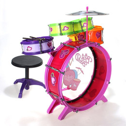 Wholesale Cymbals Children - Wholesale- Plastic Drum Kit Musical Instruments Toy for Children+Chair+Large Brass drum+2x Mini tom+Cymbal+Bass Drum Pedal+2x Drum stick