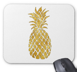 Wholesale Gold Leaf Supplies - Rectangular non-slip natural rubber mouse mat gold leaf look pineapple computer accessories office supplies mouse pad