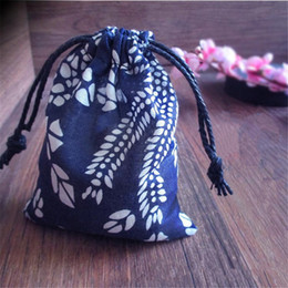 Wholesale Small Cotton Drawstring Pouches - 50pcs Vintage Blue-and-white Small Gift Cotton Drawstring Bag Jewelry Wedding Gift Jewelry Packaging Bags