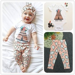 Wholesale Tutu Cute Letters - Mikrdoo 2017 Newborn Fashion Baby Clothes Suit Wild Free Pyramid Print Rompers Rhombus Pants Kids Cotton Set Cute Top Outfits 2PCS Wholesale