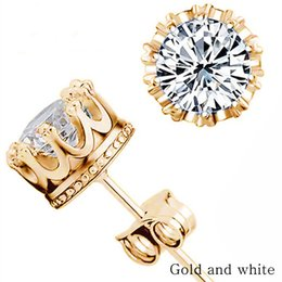 Wholesale Wholesale Simulated Diamond Jewelry - Band new crown wedding earrings 2017 new silver CZ simulated diamond engagement beautiful jewelry crystal earrings