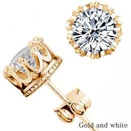 Wholesale 14k Diamond Wedding Band - Band new crown wedding earrings 2017 new silver CZ simulated diamond engagement beautiful jewelry crystal earrings