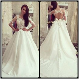 Wholesale Open Back Wedding Dresses Empire - A Line Wedding Dresses Cheap Taffeta Open Back Half Sleeve Elegant Appliques Lace Bridal gowns Hollow Back Robe de Mariage