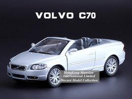 Wholesale Volvo Alloys - 1:36 Scale Alloy Diecast Car Model For VOLVO C70 Cabriolet Collection Model Pull Back Roadster Car Toys - Silver