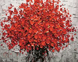 Wholesale Diy Paint Numbers - Red Flower DIY Painting By Numbers Hand Painted Acrylic Picture Wall Art Modern Oil Painting For Wedding Decoration