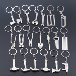Wholesale Hammer Wrenches - Creative Mini Tools Keychain axe wrench screwdriver hammer ruler shovel 20 styles alloy home garden tools key rings