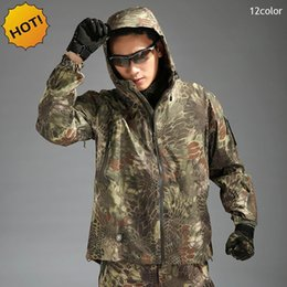 Wholesale Hard Shell Jacket - Outdoor Spring Autumn Hiking campTAD Shark Skin Hard Shell Pressure Rubber Camouflage Waterproof Snake Texture Army Tactical Men's Jacket
