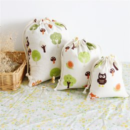 Wholesale Drawstring Dress Women - 2017 Hot Sale Muslim Gift Owl Pints Jute Sacks For Women Drawstring Fashion Personality Simple Packbag Leisure Student Shopping bag