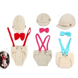 Wholesale Wool Clothing For Babies - Crochet Baby Boys Gentleman Costume Knitted Baby Hat Suspender and Bow Tie Set Clothing Set for Newborn Babies Photo Props 2017 BP016