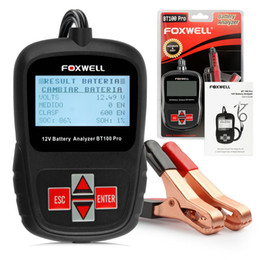 Wholesale Voltage Tester Free Ship - 2017 Multi Languages 12V CCA Car Battery Tester Analyzer Foxwell BT100 Automotive 12 Voltage Cranking Charging Free Shipping
