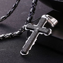 """Wholesale Byzantine Cross Pendant - Holy Bible Scripture Cross Pendant Necklace for Men Stainless Steel Byzantine Chain Christian Jewelry Black 21.65""""(55cm) MN62"""