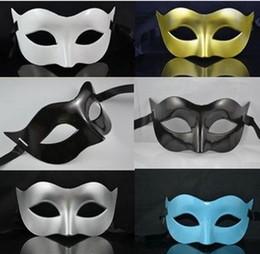 Wholesale Black Venetian Masks Mens - Mens Mask Halloween Masquerade Masks Mardi Gras Venetian Dance Party Face The Mask Mixed Color