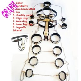 Wholesale Steel Male Chastity Set - 10pcs set Stainless Steel and silicone male chastity device sex toys for men handcuffs male chastity belt Master Slave sex games