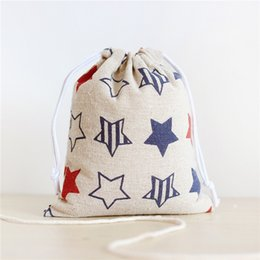 Wholesale Coffee Sacks - New Arrival Drawstring Coffee Totes Bags For Women Beautiful Canvas Stars Prints Sacks Size S 14*16cm M 19*24cm L 25*32cm