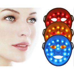 Wholesale Led For Skin - 3D vibration facial mask 3 colors LED light photon facial mask for face massage skin rejuvenation