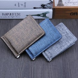 Wholesale Interior Metal Panels - New Arrivals Trendy Metal Clip Transverse Short PU Leather Wallets Panelled Credit Card Holders for Men