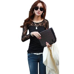 Wholesale Wholesale Stretch Long T Shirts - Wholesale-New Fashion T-shirt Women Stretch Floral Lace Patchwork O Neck Long Sleeve Slim Fit camisetas mujer Simple Tops Black White