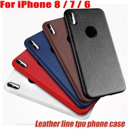 Wholesale Iphone Anti Shock - Leather lines Phone Case For iphone 8 7 7 plus iphone 6 6plus Phone Cases anit-fingerprint anti-shock TPU Case for iphone8