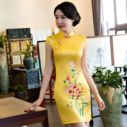 Wholesale Chinese Cheongsams - Shanghai Story Faux Silk Shot Cheongsams qipao Chinese Style Dress chinese traditional Dress oriental dress 2 Color