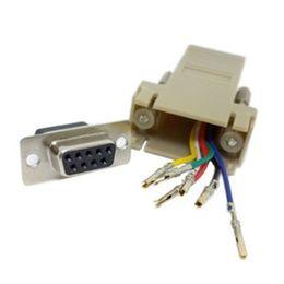 Rs232 db9 weiblich online-Rs232 DB9-Buchse 300PCS / lot zu RJ45-Buchse RS232 modularer Adapter Freies Verschiffen