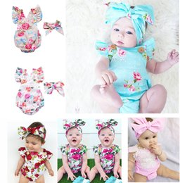Wholesale Blue Styles - 6 Styles Infants Baby Girl Floral Rompers Bodysuit With Headbands Ruffles Sleeve 2pcs Set Buttons 2017 Summer INS Romper Suits 0-2 years