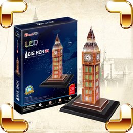 Wholesale Led 3d Puzzles - New Arrival Gift Big Ben 3D Puzzles LED Display Decoration DIY Building Model Assemble Kids Children Learning Adult Family Work