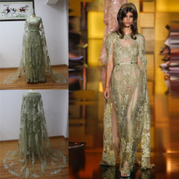 Wholesale Real Picture Custom Dress Saab - 100% Real Image Elie Saab Prom Dresses Sheer See Through Sparkly Appliques Evening Gowns With Cloak Formal Party Runway Dresses Custom Made