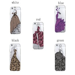Wholesale Transparent Dresses For Women - Transparent Soft TPU Phone Cases Classic Women with Lace Dress for Apple iPhone 4 4S 5 5S SE 6 6Plus 7 7Plus Samsung