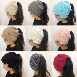 Wholesale Christmas Pony - 10 Colors Women CC Ponytail Caps CC Knitted Beanie Fashion Girls Winter Warm Hat Back Hole Pony Tail Autumn Casual Beanies CCA7235 30pcs