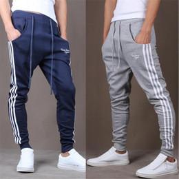 Wholesale Track Pants Wholesale - Wholesale-Hot New Fashion Casual Skinny Mens Track Pants Skinny Harem Sweatpants Tracksuit Bottoms Pants Trousers casual Pants