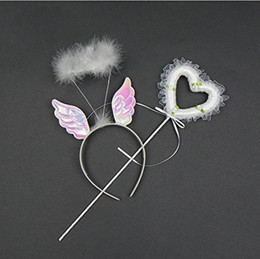 Wholesale Wholesale Fairy Wings For Girls - Angel Fairy White Fur Glitter Wings Wand Halo Dress Up Kit Fancy Dress Girl for Halloween