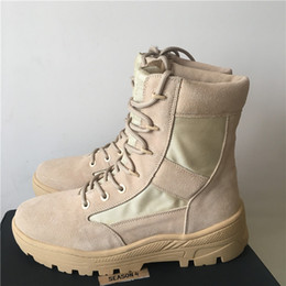 Wholesale military boot laces - 2017 new arrived TOP QUALITY Season4 kanye west high top genuine leather martin boots men military desert new season boots