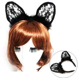 Wholesale Sexy Fox Cosplay - Black Feathers Lace Cat Fox Ears Headbands Sexy Dance Party Headwear Women Cute Cosplay Costume Hair Accessories